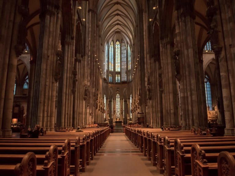 COLOGNE, GERMANY- November 6, 2017: church service held in the cathedral in Cologne, Germany.